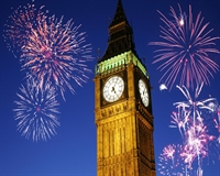Big Ben Tower with Fireworks