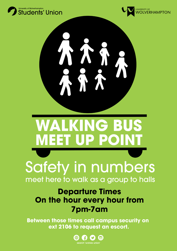 Walking Bus hourly from Harrison Learning Center between 7 pm and 7 am