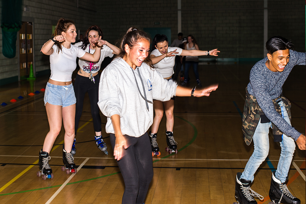 Students showing their moves at a Freshers Fayre event 2016